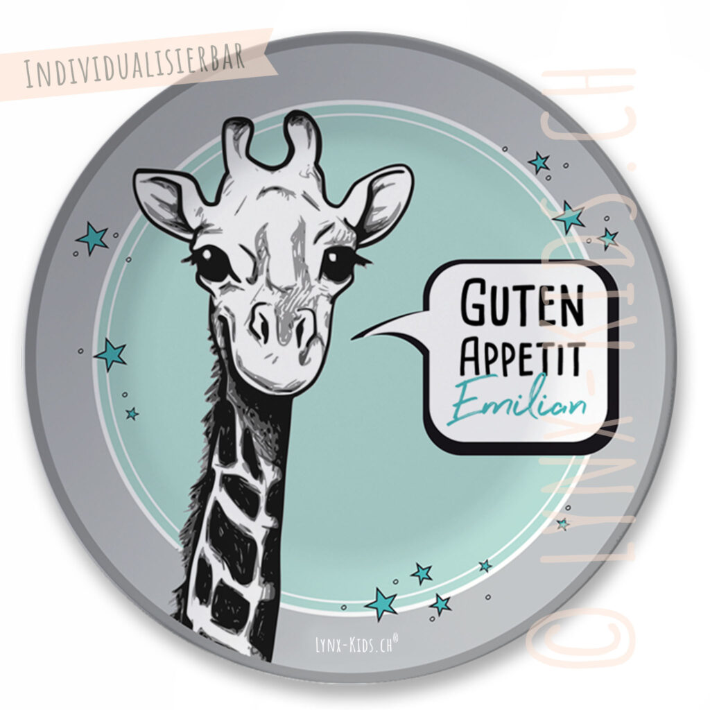 Personalisierter Melamin Kinder Teller – Giraffe