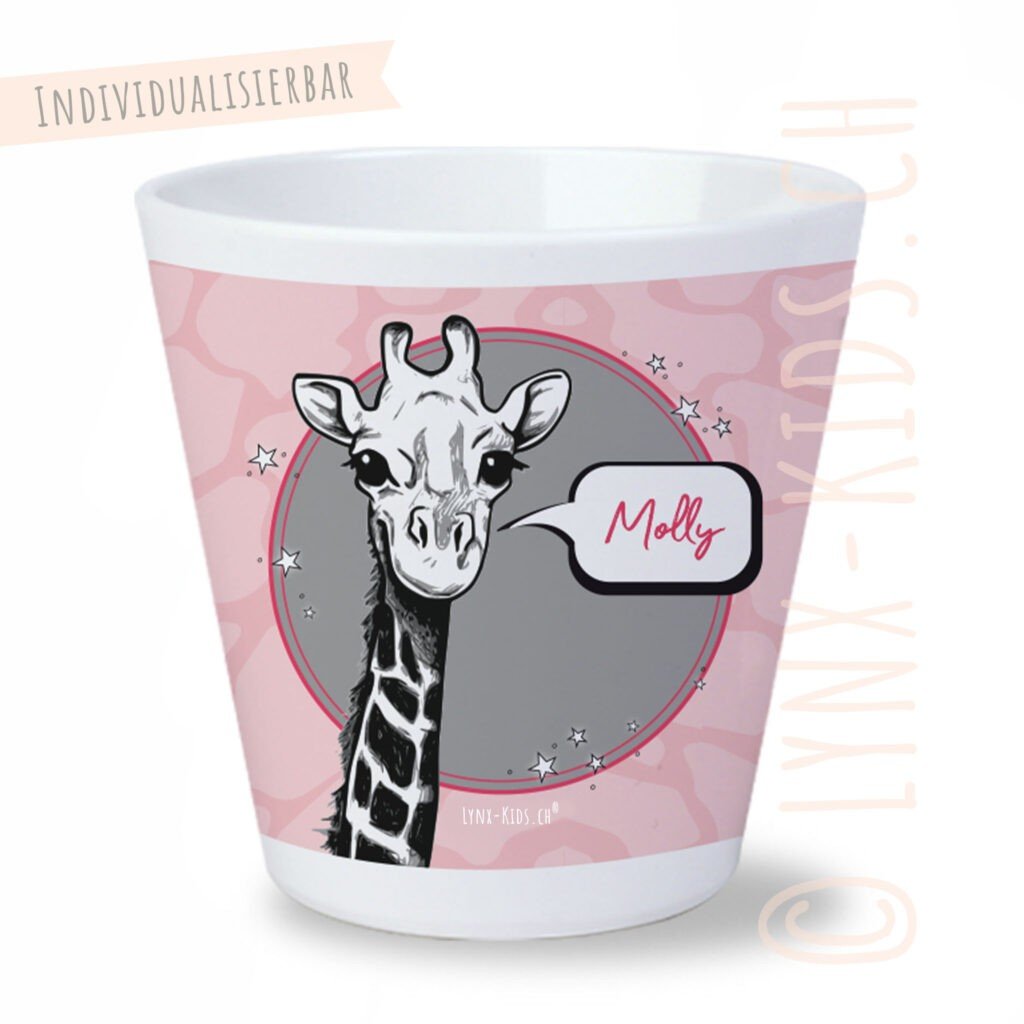 Personalisierte Melamin Kinder Becher – Giraffe Pink