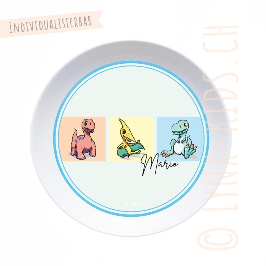 Personalisierte Melamin Kinder Schale – Dino Hellblau