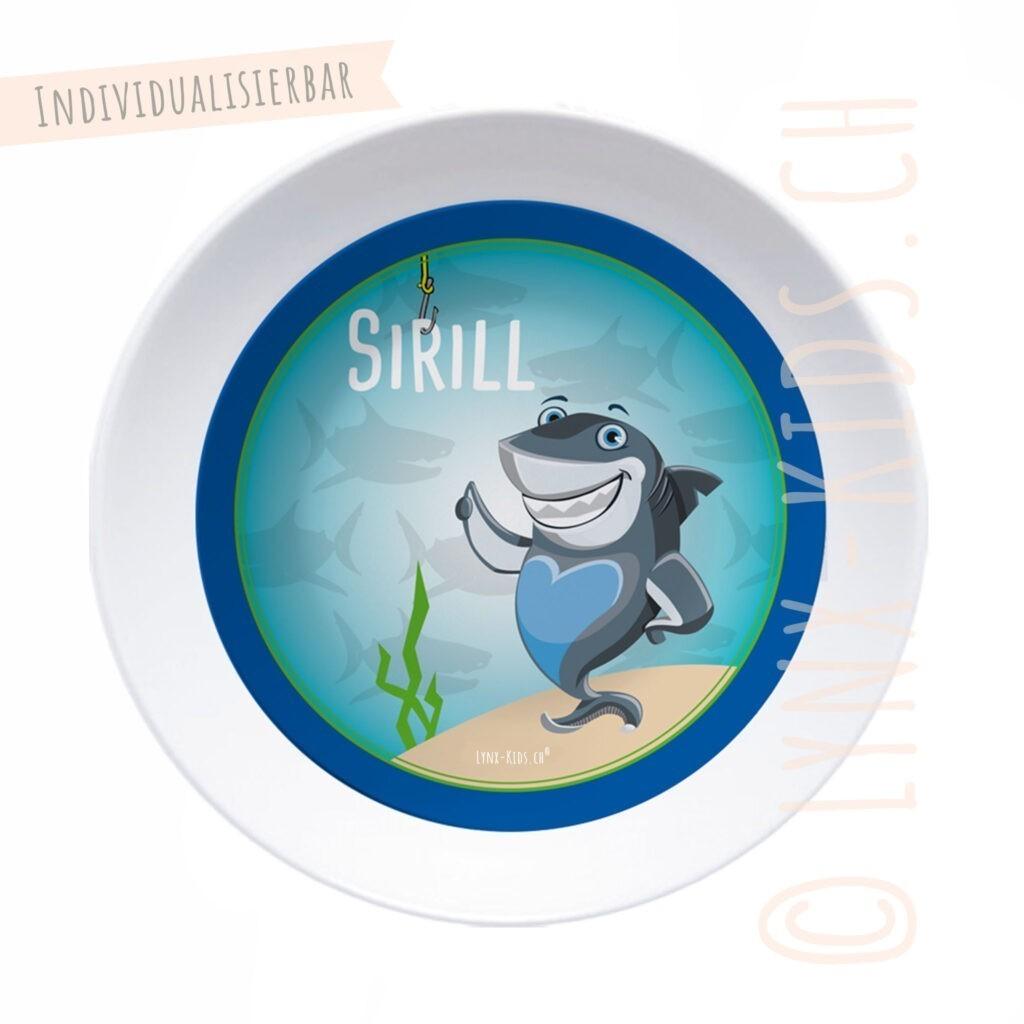Personalisierte Melamin Kinder Schale – Haifisch