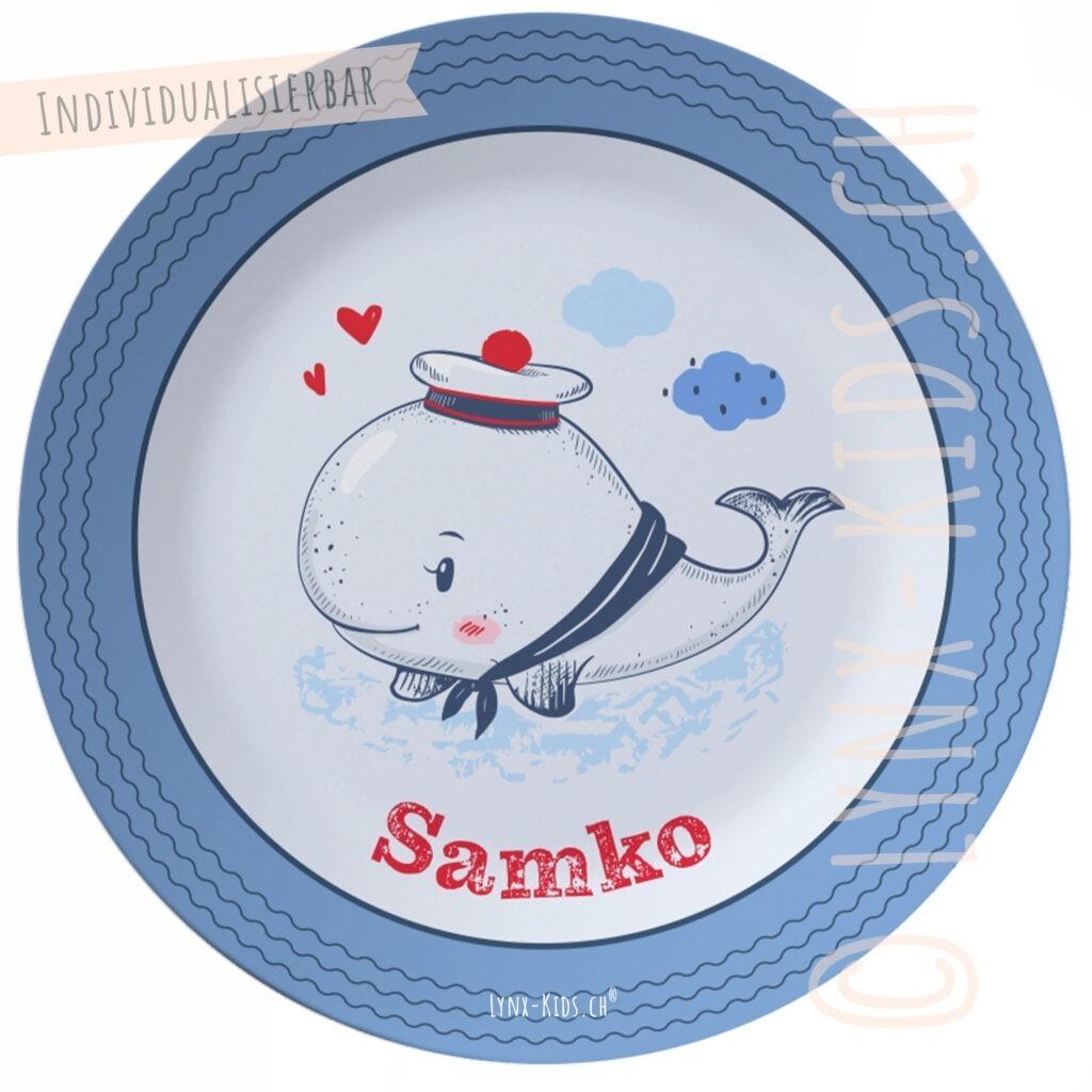 Personalisierter Melamin Kinder Teller – Wal